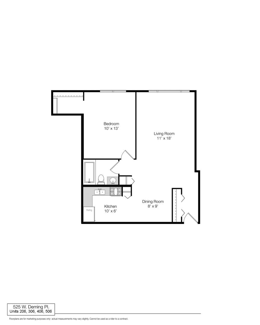525 West Deming, Chicago, IL - 1,480 USD/ month
