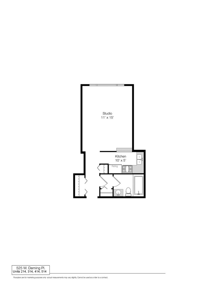 525 West Deming, Chicago, IL - 1,005 USD/ month